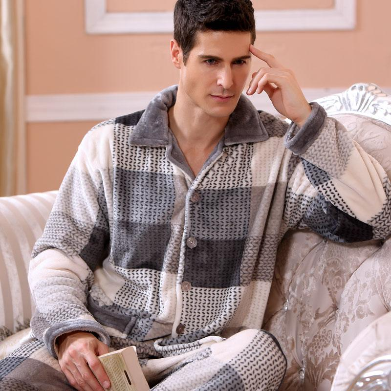 2018 Modern Fashion Men Winter Keep Thermal Anti Cold Coral Fleece Pajamas sets of Sleepcoat & Pants Adult Casual Home Sleepwear