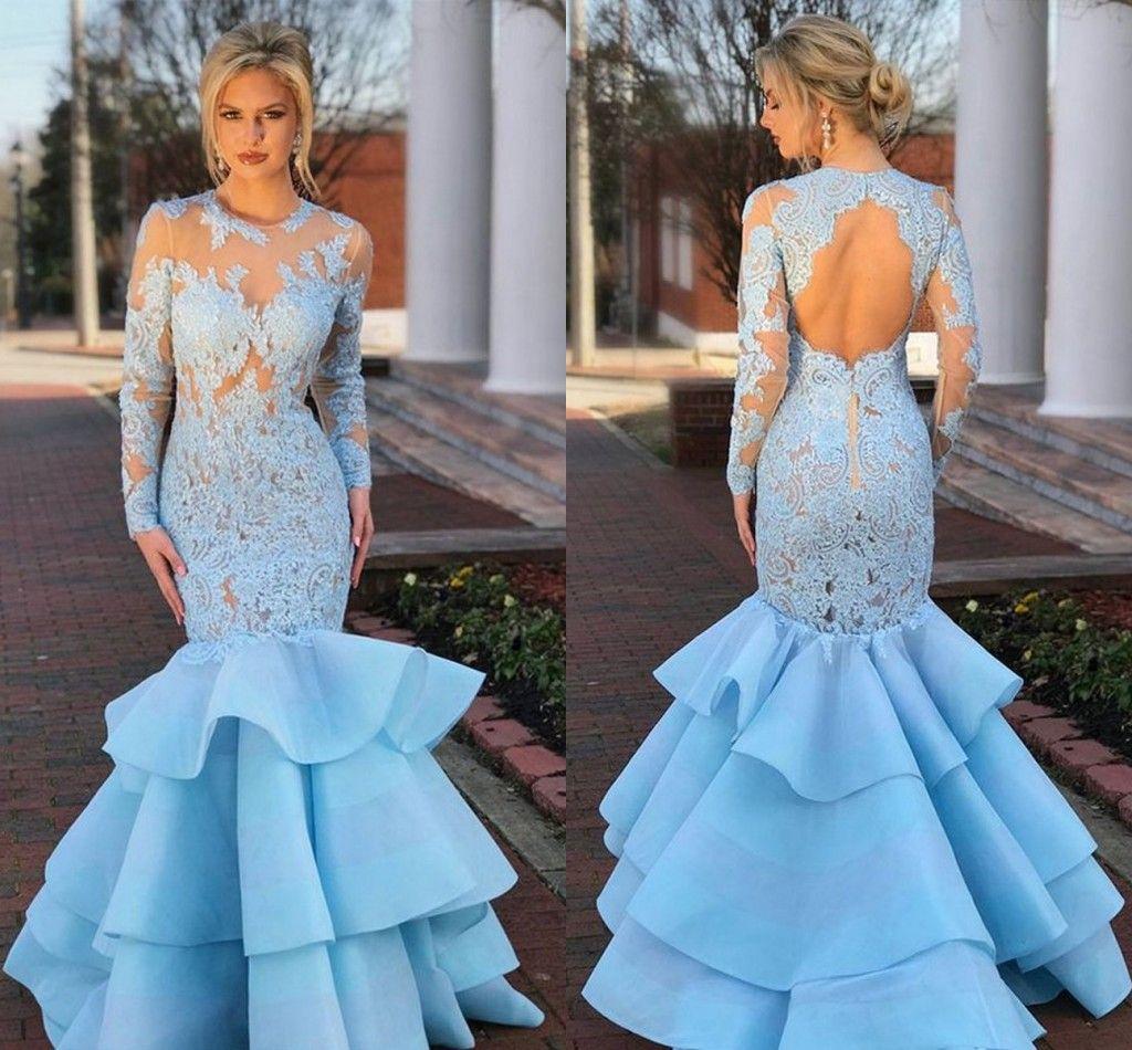 92f825ed5f3f Long Sleeves Mermaid Prom Dresses Sheer Neck Lace Organza Backless Light  Sky Blue Evening Dresses Formal Dresses Long Black Prom Dresses Long  Elegant ...