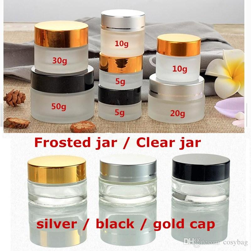 df36965b39b9 20g 30g 50g Clear/Frosted Glass Refillable Cosmetic Jars Empty Face Cream  Lip Balm Storage Container Pot Bottle With Silver/Black/Gold Lids