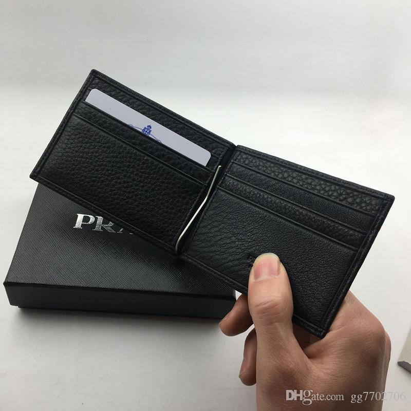 90c20fbd1480 Classic Black Genuine Leather Credit Card Holder Wallet Luxury Business Men  P Metal Money Clip Purse Fashion ID Card Case Coin Pocket Bag Handbags  Purses ...