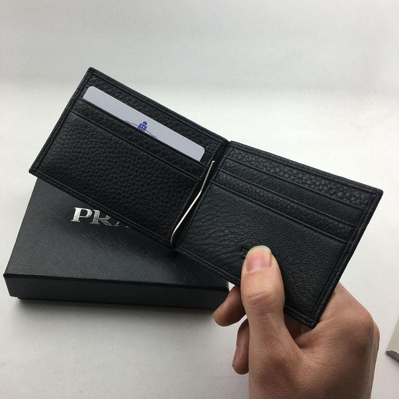 Titular do Cartão de Crédito de Couro Genuíno preto Clássico Carteira de Luxo Homens de Negócios P Bolsa de Dinheiro de Metal Clipe de Moda Caso de Cartão de IDENTIFICAÇÃO de Moeda Saco de Bolso