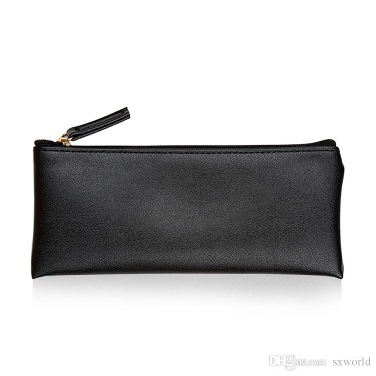 36721dbef889 Solid Black Sliver Blue Pencil Case Cosmetic Pu Leather Makeup Make ...