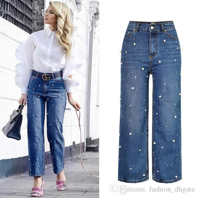 a4a6113096f0 2019 2018 Loose Embroidered Flares Wide Leg Pants Women High Waist Fashion  Pearl Nail Bead Jeans Femme Personality Vintage Retro Street Trousers From  ...