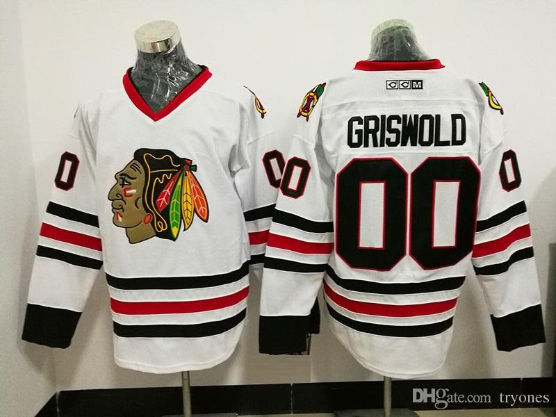 53e82ec3 best price 2019 mens vintage chicago blackhawks hockey jerseys white 00  clark griswold vintage ccm moive
