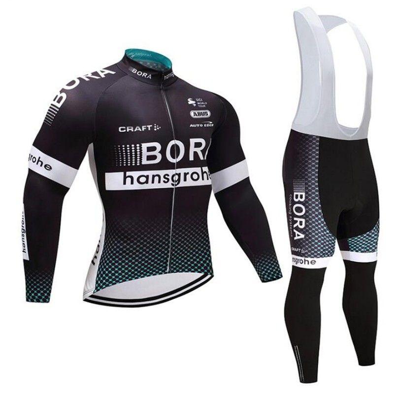 2019 BORA Team Cycling Long Sleeves Jersey Bib Pants Sets Racing MTB ... f55727523