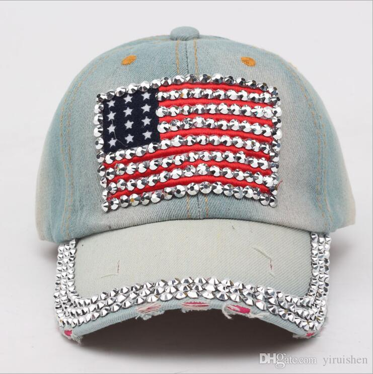 Fashion Personality Women Female Lady Denim Casquette Blue Jean Cap  Diamonds American Flag Baseball Hats Spring Summer Visor Hat Party Hats For  Boys Party ... d9def3cbfe2