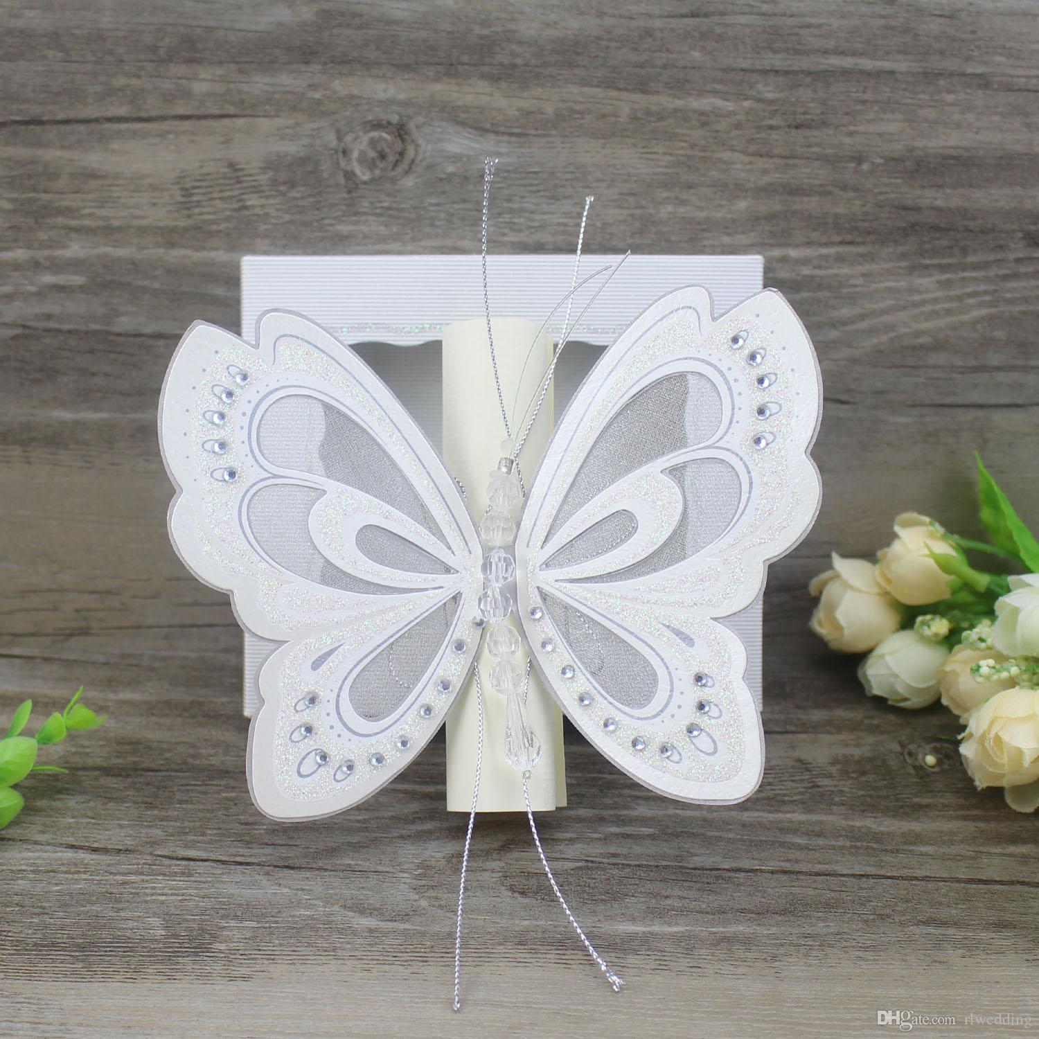 Scroll Wedding Invitation Card Elegant White Pink Butterfly Kids