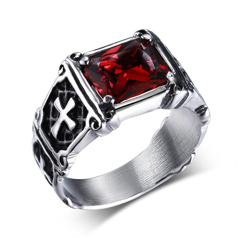Mprainbow Vintage Mens Rings Stainless Steel Red Large Crystal Dragon Claw Cross Ring Band Gothic Biker Knight Punk Jewelry 2017