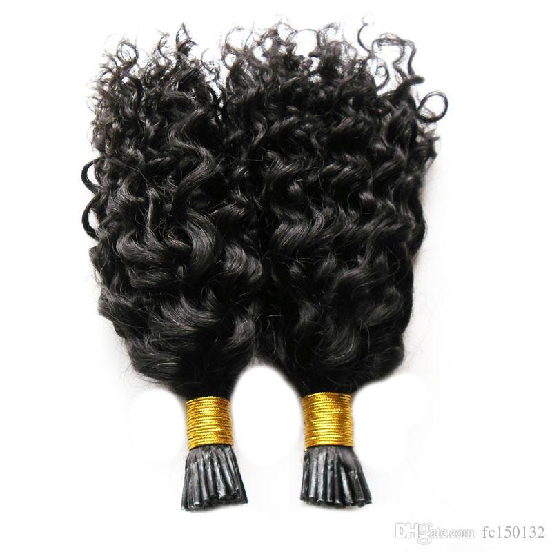Couleur naturelle Kinky Curly Kératine humaine Fusion cheveux Nail I Astuce machine Made Remy Pré Bonded Extension de cheveux 100 g / brins