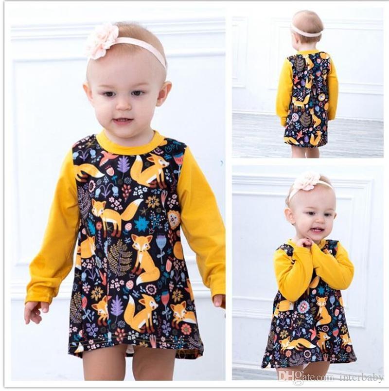 d76aa620d Girls Dresses Cartoon Fox Birds Print Dress Baby Long Sleeved Tops ...