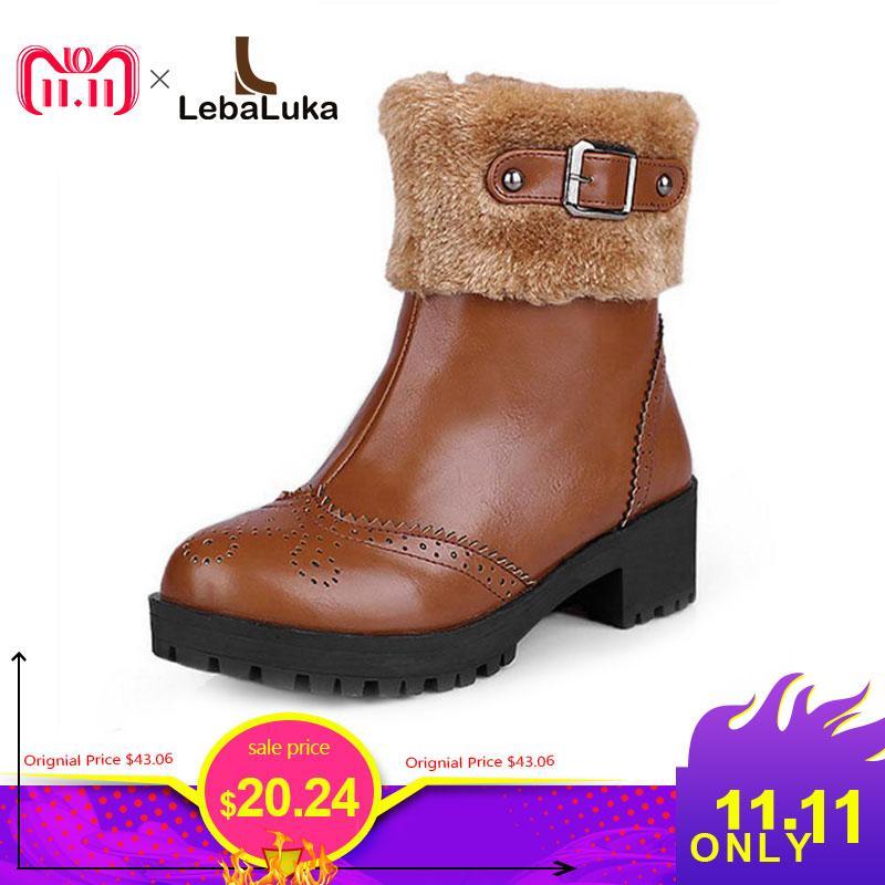 low priced 94a57 20021 LebaLuka Größe 34-43 Frauen Stiefeletten Warme Pelz Metallschnalle  Reißverschluss Winter Frau Schuhe Mode Einfache Kurze Stiefel Damen