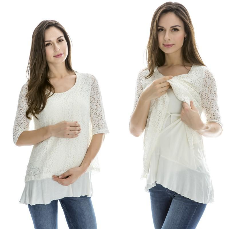d4959035bd0 2019 Emotion Moms Lace Maternity Clothes Nursing Breastfeeding Tops For  Pregnant Women T Shirt Spring Maternity Tops Feeding Clothing From  Sport xgj