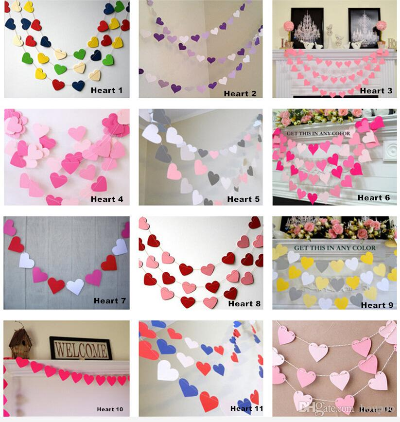 2019 Wholesale 1m Paper Heart Wall Hanging Wedding Halloween
