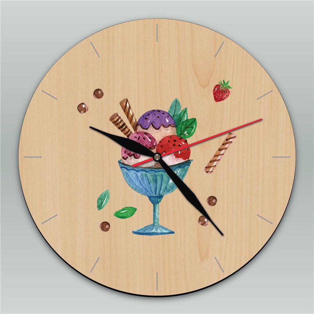 Tricolor Ice Cream Vintage Round Silent Wall Clock Cartoon Wooden ...