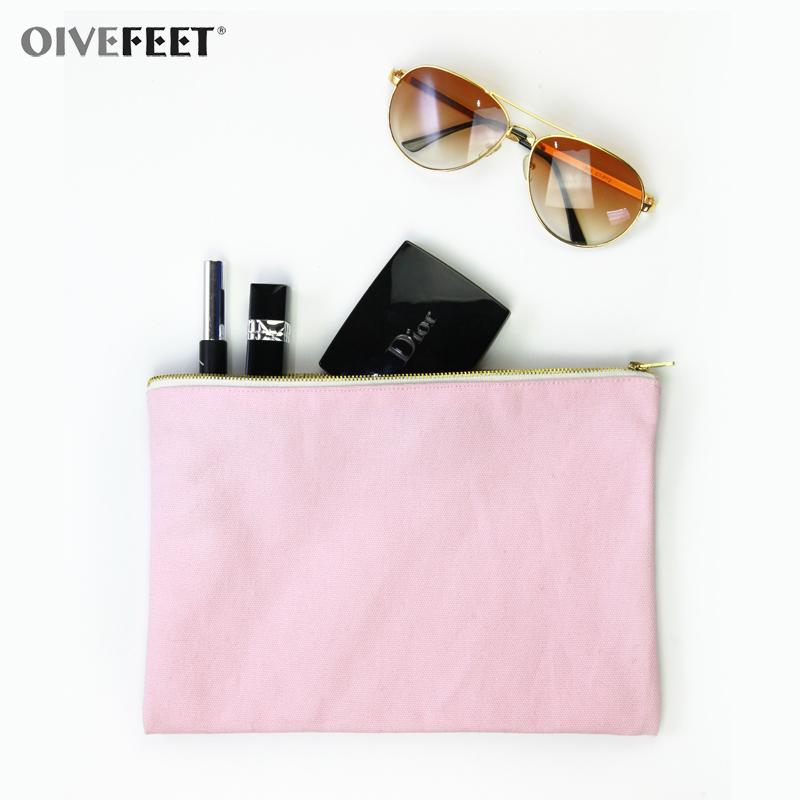 OIVEFEET LGC190,Plain Black Cotton Canvas Cosmetic Bag Makeup Zipper Pouch Travel Toiletry Bag Gold Zipper Custom Accept