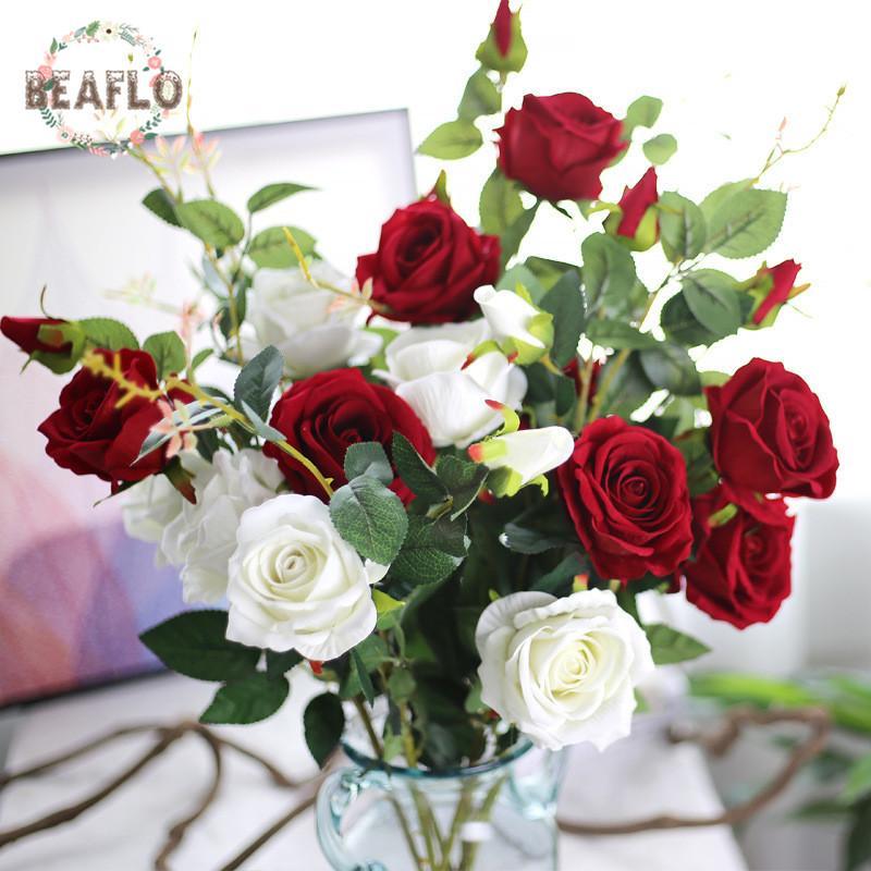 2019 Artificial 3 Heads Velvet Rose Silk Flower Wedding Flower