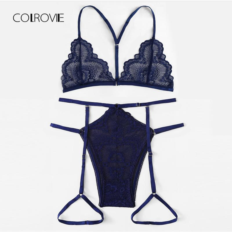 COLROVIE Navy Lace & Mesh Garter Lingerie Set 2018 New Summer Sexy Bra Set Lace Intimates Transparent Bra And Panty Set C18111601