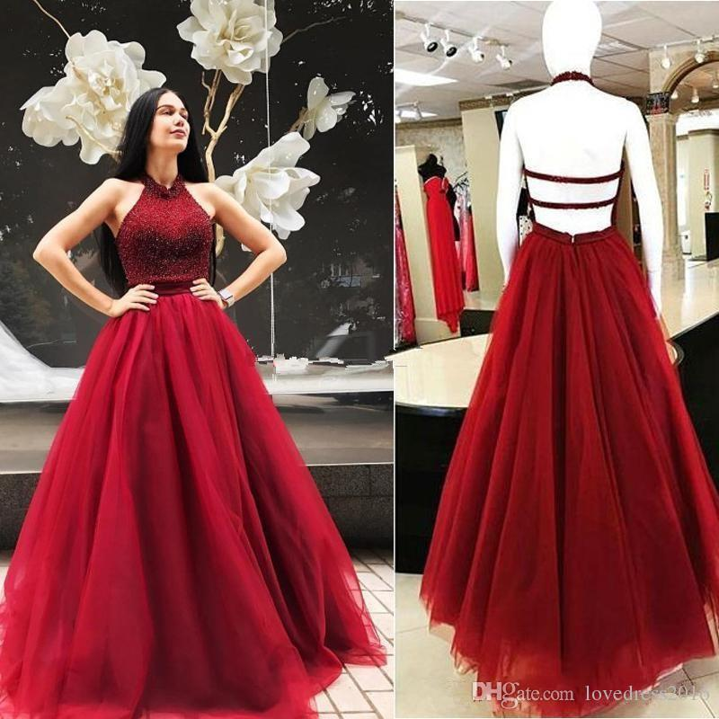 bed6a438df 2018 Burgundy Tulle A Line Long Prom Dresses Halter Neck Beaded Sexy  Backless Evening Party Gowns Free Prom Dresses Ghetto Prom Dresses From  Lovedress2016