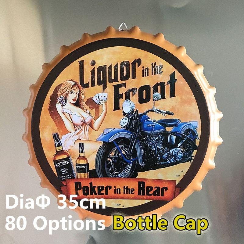 2018 80 option bottle cap metal tin signs 35cm beer cafe bar