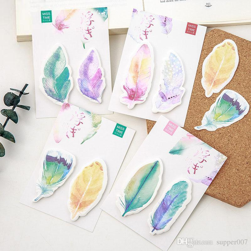new cute kawaii feather sticky notes memo pad post it note for kids