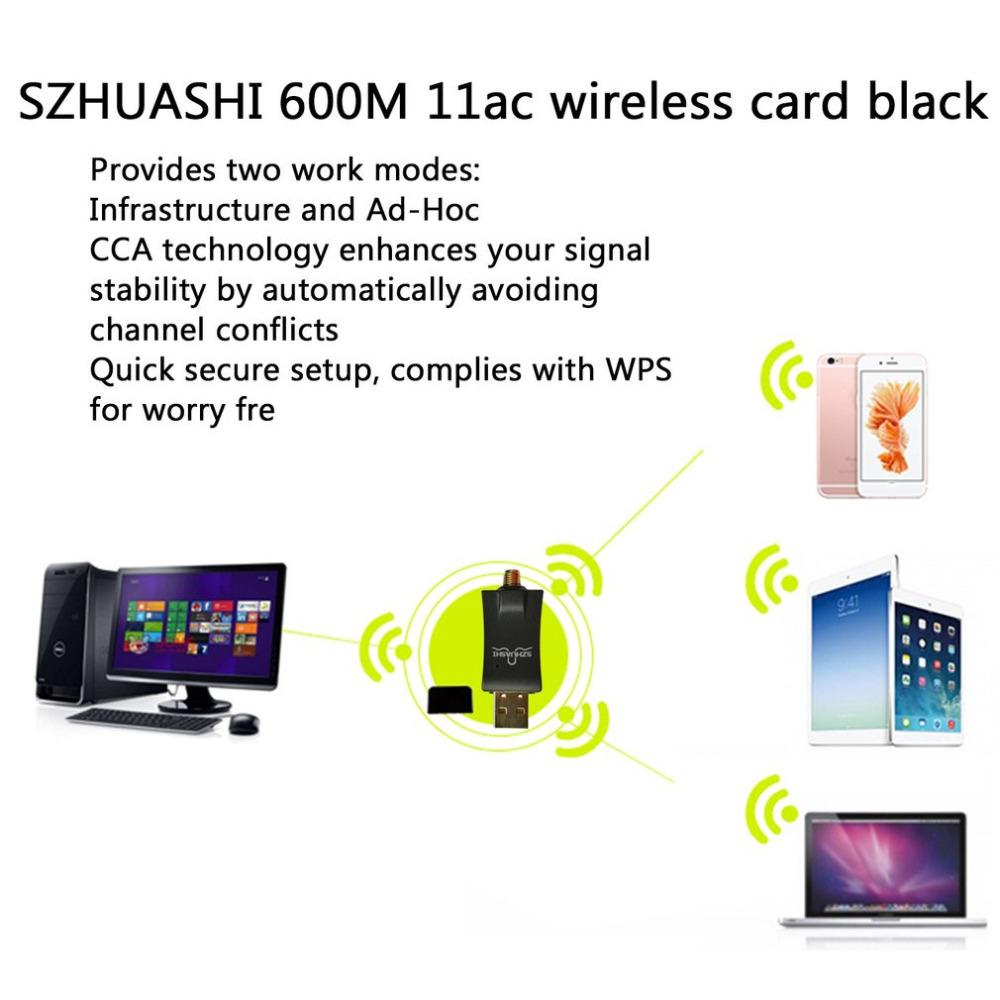 SZHUASHI 600Mbps Wireless 11ac USB Wifi Network Card Mini High Gain Launcher Adapter With Antennae Support Hot Sale in stock!!!
