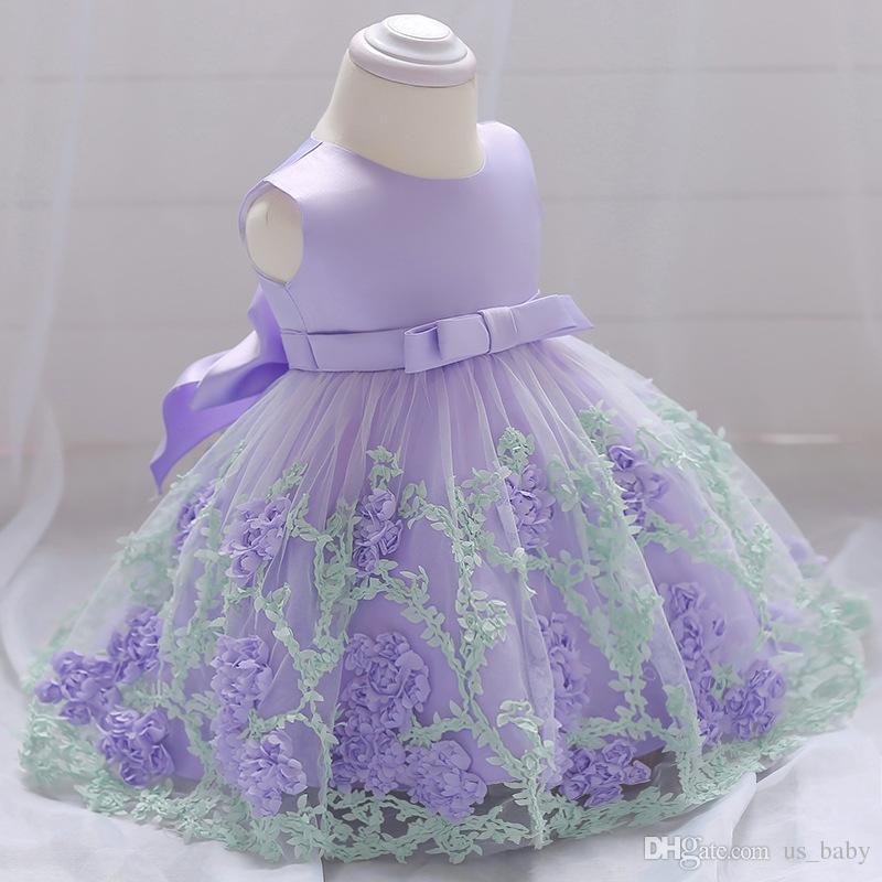 Baby Girl Vintage Dress Niña del niño vestidos de bautismo para la fiesta de cumpleaños del bebé vestido de bola infantil es 3 tamaño