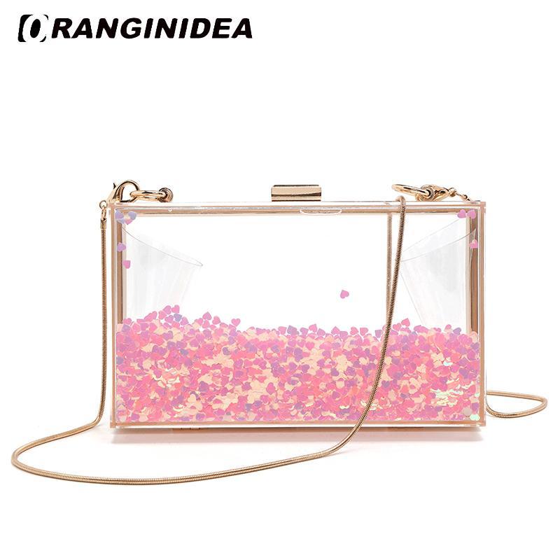 d84ede060779 Acrylic Evening Bags for Women Transparent Liquid Heart Love Crossbody Bags  Sweet Small Lady Handbags Girl Clutch Box Bag