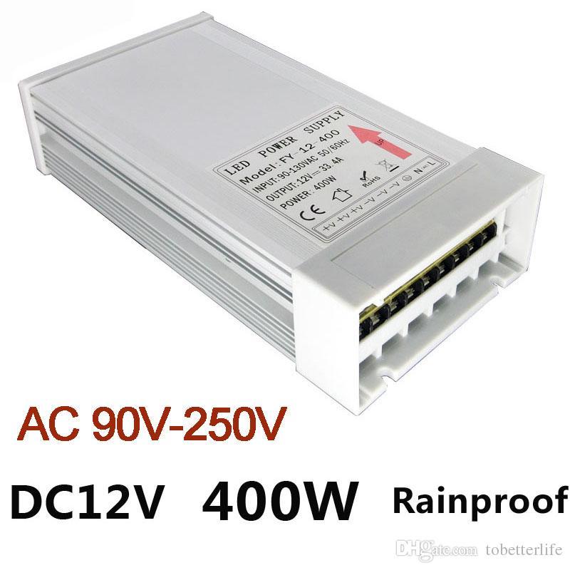 Rainproof 12V LED Power Supply Transformer 400W Led Driver Adapter AC  90V-250V LED Switching Power Supply for Module Strip Light