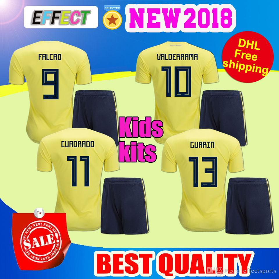 71323556b0c DHL 2018 World Cup Colombia Soccer Jersey Kids Kit 2018 Colombia ...