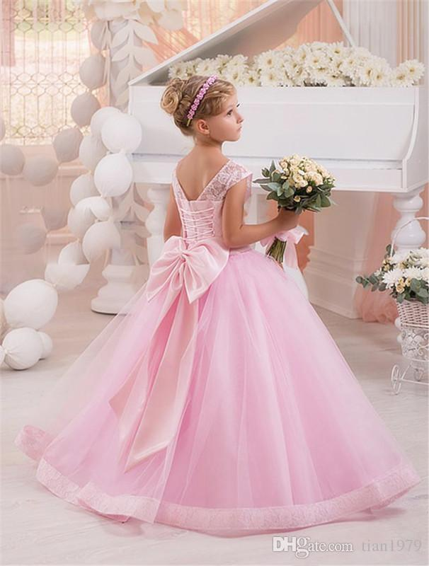 Pink Bow Wedding Flower Girls Dresses Toddler Baby First Communication Dresses With Gold Sequins Tiered Tea Length Party Ball Gown Kids