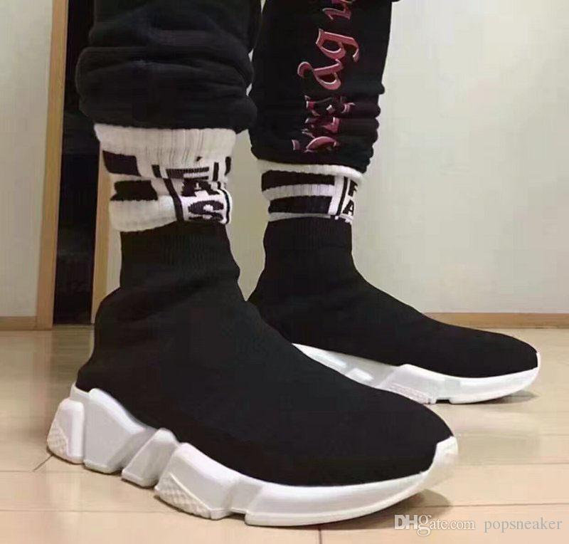 Fashion Sock Boots Shoe Brand Designer Speed Stretch Knit Mid Shoes Luxury  Sneakers Speed Sock Black White Shoes Men Women Shoes High Heel Boots White  Boots ... 12891aa9b8