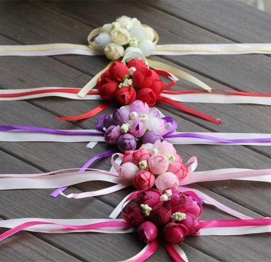 Medical & Mobility 5pcs Wrist Flower Rose Silk Ribbon Bride Corsage Hand Flower Decorative Wristband Bracelet Bridesmaid Curtain Band Clip Bouquet