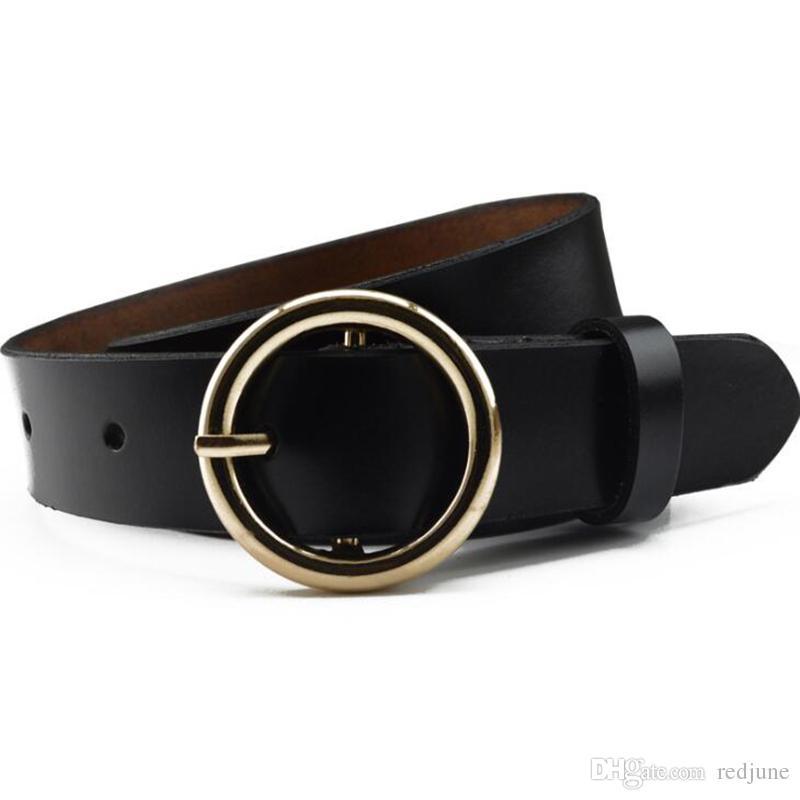 283fa17e7d3b New Women S Ring Leather Belt Woman Round Buckle Wide Belts For Women Strap  For Woman Jeans Belt Plus Size Belts Myself Belts From Redjune