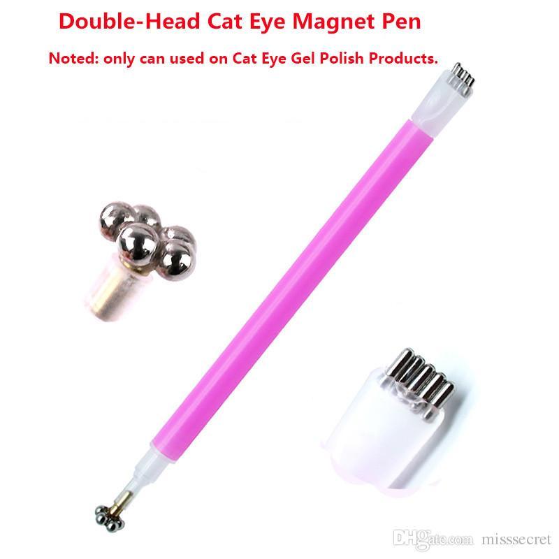 3 ألوان مزدوجة رئيس القط العين المغناطيس القلم السحري صورة خط الشريط تأثير قوي المغناطيسي القلم مسمار أداة ماكياج