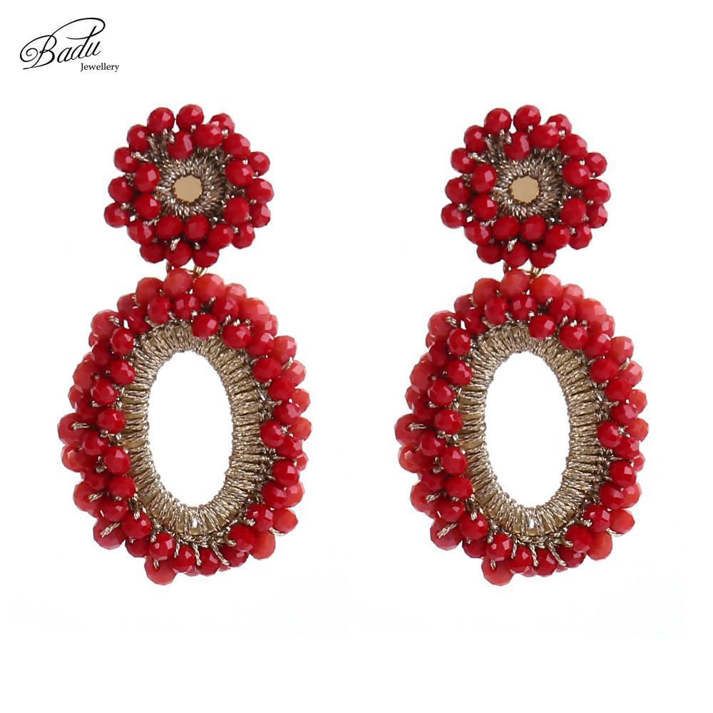 Großhandel Badu Roter Kristall Perlen Häkeln Ohrring Vintage