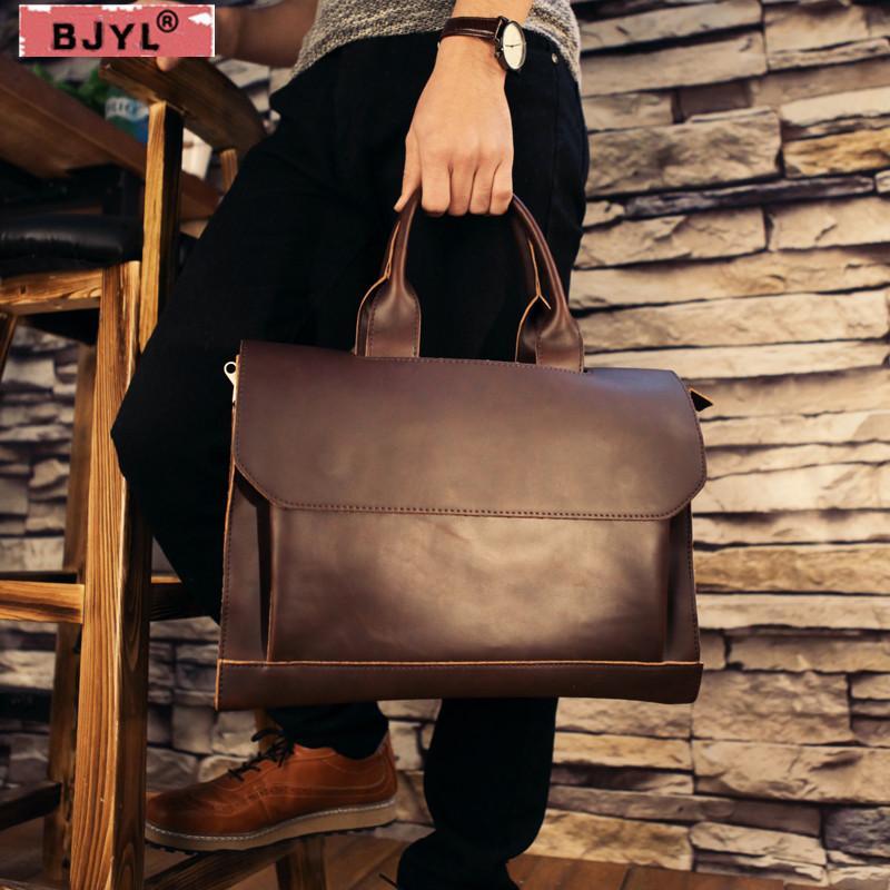 BJYL Genuine Leather British Men S 14 Laptop Bag Business Retro Brifecase  Crazy Horse Skin Handbag Men Shoulder Messenger Bags Rolling Briefcase Mens  ... a745febfe13d6