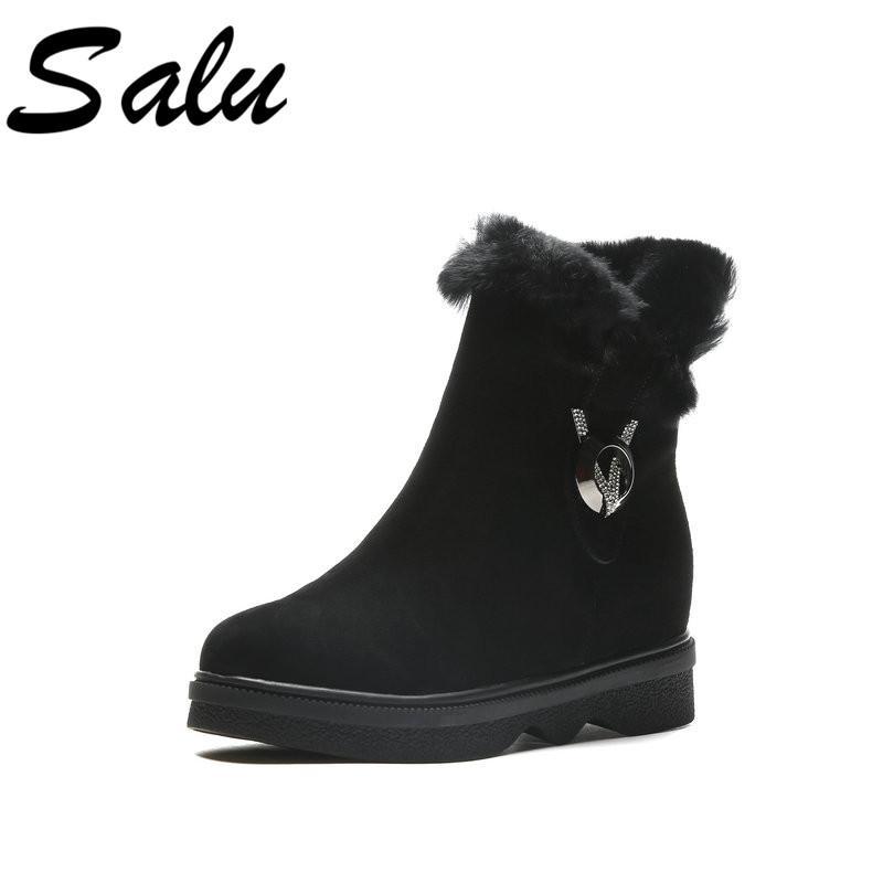 Compre Salu Nuevo 2019 Negro Blanco Botines Para Mujeres Decoración Moda  Damas Sexy Botas De Piel Zapatos De Invierno Plataforma A  76.05 Del  Softkett ... f83f2a33a3f8