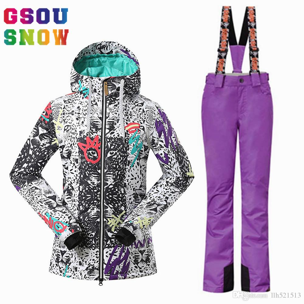 2019 2018 NEW GSOU SNOW Brand Women Ski Suit Snowboard Jacket Pants Sets Winter  Waterproof Skiing Suit Ladies Outdoor Sports Clothing Skiwear From  Llh521513 ... e43f10f77