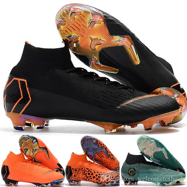 f5c2cab862 Compre Novo Original Chuteiras De Futebol Botas De Futebol Ronaldo Alta Top  Mercurial Superfly Vi Fg Kj 360 Sapatos De Futebol De Elite Kim Jones Botas  De ...
