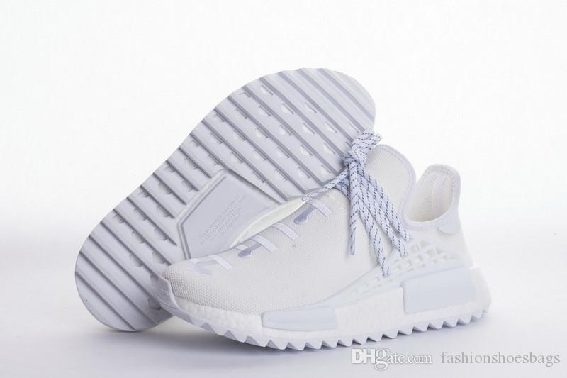 separation shoes d4351 9db4c 2018 ew Arrival Ad Human Race NMD Pharrell NMD HU Human Race Holi Blank  Canvas Cream White AC7031 Running Shoes With Origanal Box