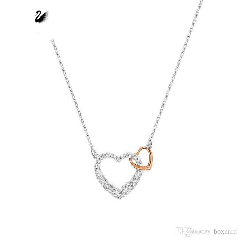 5d7d60f99967 Wholesale Dear Small Double Heart Necklace For Ladies Newest Brand Designer  Necklace Bracelets For Valentine S Day Presents 925 Silver Women Necklaces  Gold ...