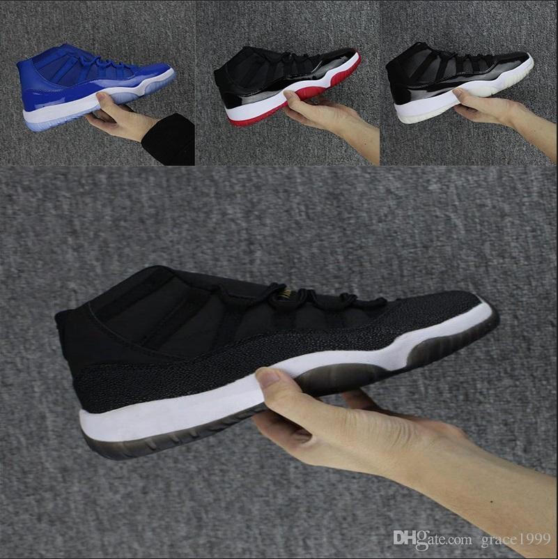 the latest 8c159 c477b Großhandel Nike Air Jordan 11 Retro Space Jam Art Und Weisefarbe Schwarze,  Rote, Blaue Und Weiße Breathable Schuhe Der Hohen Qualität Männer Und Die  ...