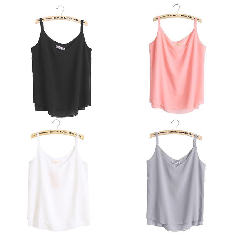 d0ebcfae96003d 2019 Chiffon Tank Top Women 2017 New Summer Sleeveless Shirt Sexy V Neck  Cami Loose Casual Female Tops Plus Size Vest Ladies Clothing From  Xiamen2013