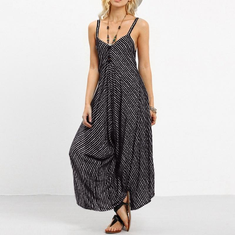 2b24804c7c6 2019 Women Pinstriped Sexy Black Romper Party Wide Leg Strapless Playsuits  Bohemian Long Casual Jumpsuits Overalls Sleeveless From Stripe