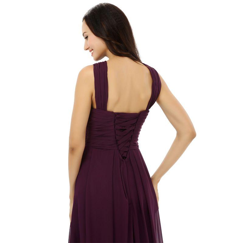Burgundy Chiffon Bridesmaid Dresses Halter Floor Length Wedding guest dress Floor Length Bridesmaid Dress Cheap