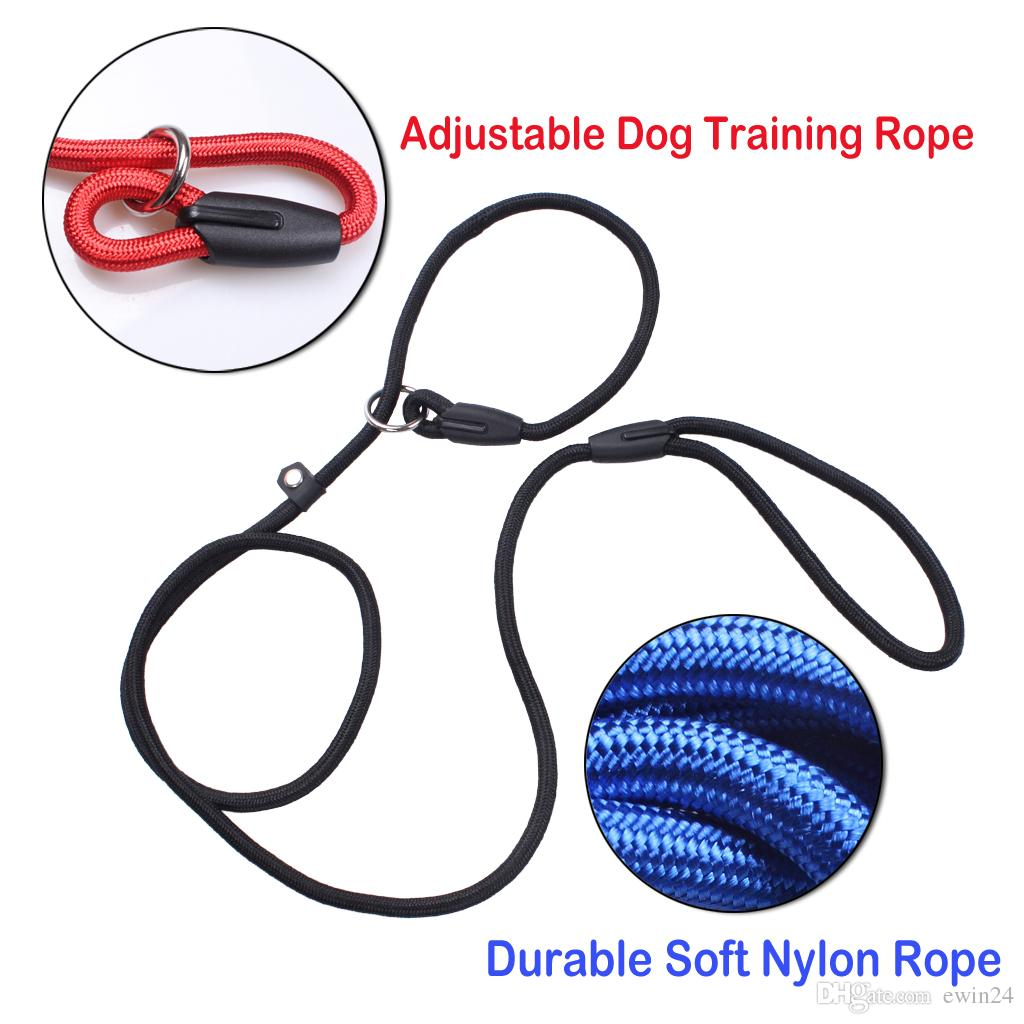 Pet Dog Nylon Ajustável Collar Training Loop Slip Leash Corda Chumbo Pequeno Tamanho Vermelho Azul Preto Cor