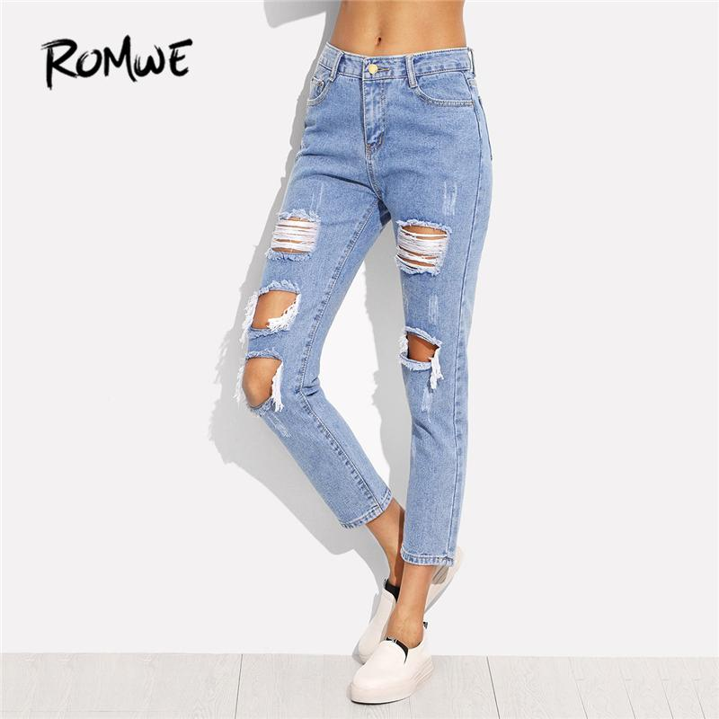 5ef444ce82 Compre ROMWE Distressed Ankle Jeans 2018 Spring Blue Patch Ripped Denim  Recortada Pantalones Mujeres Mediados De Cintura Sexy Casual Pantalones  Lápiz A ...