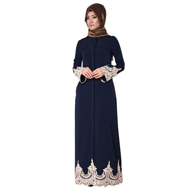 Acheter La Mode Musulmane Ouverte Abaya Dentelle Musulmane Broderie Robe  Islamique Arabe Robe Longue Robe Musulman Dubai Kaftan Kurta Pour Les Femmes  De ... b28cc89e1ed