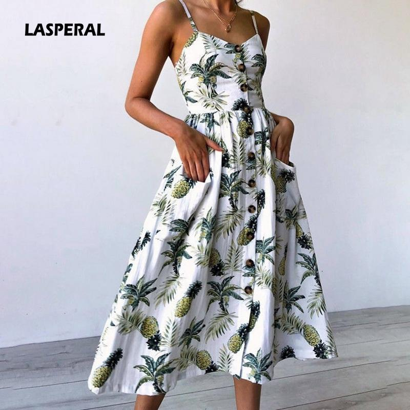 7c09dfca7a 2019 LASPERAL Print Floral Long Boho Style Beach Summer Dress Women 2018  Sundress Sexy V Neck Sleeveless Strap Maxi Vintage Dresses Y1891305 From  Shenyan01, ...