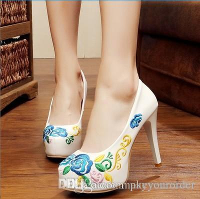 Wholesale Factory Price Hot Seller Sexy Eruoper Size 34 40 Platform China  Style High Heel Round Wedding Embroidered Shoes176 Shoe Shopping Online  Best ... 32257a414fae